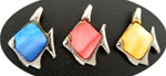 Silver Tone Fish Pendant with Mother of Pearl Inlay, colored, 24x18mm - Blue, Rose, Yellow