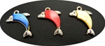 Silver Tone Dolphin Pendant with Mother of Pearl Inlay, colored, 24x14mm - Blue, Rose, Yellow
