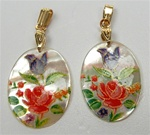 Oval Mother of Pearl Scrimshaw Pendants with Gold Bail - Rose & Tulip