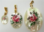 Oval Mother of Pearl Scrimshaw Pendants with Gold Bail Pink Rose