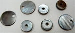 Genuine Mother of Pearl Round Black Discs - center hole (9mm) or top hole (12mm)