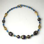 Blue Glass Indian Bead Choker with Brass Accents.  A bargain at $5.00  CHB102