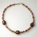 Red/Amber Glass Indian Bead Choker with Brass Accents.  A bargain at $5.00  CHB102
