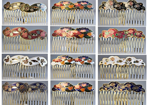 Cloisonne Hair Combs 2 Pcs Sets 2 Multi Color NWT