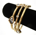 Chico's Bangle Bracelet Trio with Clear Crystal Stone Accents in Matted Gold