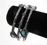 Chico's Bangle Bracelet Trio with Dark Aqua Stone Accents in Gun Metal