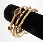 Chico's Bangle Bracelet Trio with Smoked Topaz Stone Accents in Matted Gold