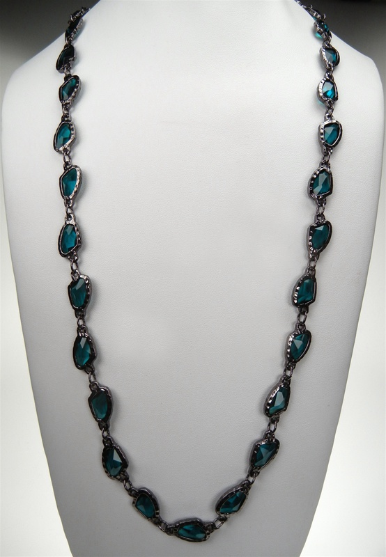 Stone and Metal Fashion Necklace 36 with extender Dark Aqua