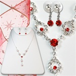 Crystal & Ruby Necklace and Earring Set