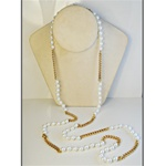 "Wholesale Pearl & Chain Necklace Elegant 8mm pearls with alternating chain, 48"". (1 dozen minimum)"