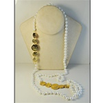 "Wholesale Pearl & Coin Necklace Elegant 8mm pearls with alternating coins, 48"". (1 dozen minimum)"