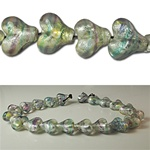 Glass Foil Heart Beads