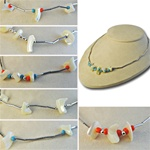 "Wholesale Assorted Japanese Vintage Necklaces Classic vintage necklaces, with genuine mother of pearl chips and turquoise and coral seed beads, 16"". Comes in assorted styles, (12 pcs minimum)"