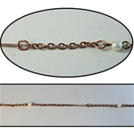 Wholesale Copper Pearl Chain  5mm pearls linked with 24mm bar, sold in 300 Feet roll..