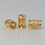 Wholesale Filigree Tube Bead Gold plated tube filigree bead, 14x5mm. (50 piece minimum)