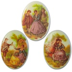 Wholesale Assorted Limoge Charming courtship scenes, 8x18mm plastic oval . (36 pcs minimum)