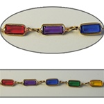 Rectangle Crystal Lucite Chain Multi colored crystal lucite stones in gold plated setting,10x6mm, sold in 10 Feet minimum lengths.