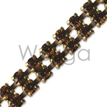 Double Row Smoked Topaz Rhinestone Chain