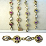 Filigree Caged Lucite & Pearl Chain Crystal lucite stones in gold plated filigree setting, 13mm with alternating caged pearls, sold in 10 Feet minimum lengths. Available in four colors, Amethyst, Rose, Fuchsia & Multi.
