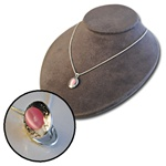 Wholesale Silver Tone Pink Moonstone Locket Necklace