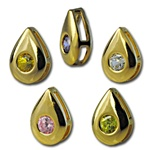 Wholesale gold plated CZ pear sliders 10mm. Comes in five dazzling colors! Crystal, Pink, Peridot, Amethyst and Canary Yellow.