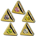 Wholesale gold plated CZ triangle sliders 10mm. Comes in five dazzling colors! Crystal, Pink, Peridot, Amethyst and Canary Yellow.