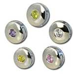 Wholesale silver plated CZ round sliders 10mm. Comes in five dazzling colors! Crystal, Pink, Peridot, Amethyst and Canary Yellow.