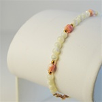 Genuine Coral Tulip Bracelet Elegant bracelet with coral & mother of pearl beads, 7 ""