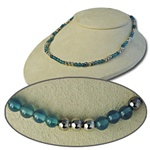 Wholesale Sterling Silver Blue Agate Beaded Necklace Beautiful sterling silver & blue agate 4mm beads, 16""