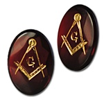 wholesale Vintage Glass Doublet Stone  Red glass doublet stone with gold leaf mason symbol, 18x13mm.(10 pcs minimum)