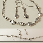 Serling Silver Bracelet and Earring Set Hearts
