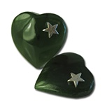 "Genuine Jade Heart Genuine jade heart with silver star. 1/2"" wide. (1dozen minimum)"