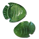 "Genuine Jade Fish Carved genuine jade fish. 1/2"" wide. With drilled hole on top. (1dozen minimum)"