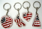 Patriotic Key Chains Assorted Styles Sold by the Dozen, Triangle, Heart, Circle, Butterfly