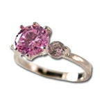 Lady's High Quality Cubic Zirconia Rings, Silver Plated Ring with Pink Solitaire and 2 Crystal Stones