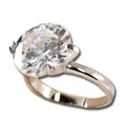 Lady's High Quality Cubic Zirconia Rings</B><br>Silver Plated Ring with Lg Crystal Center Stone L202