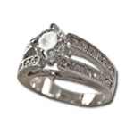 Lady's High Quality Cubic Zirconia Rings</B><br>Silver Plated Cocktail Ring with Lg Center Stone and Side Accents