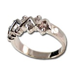 Lady's High Quality Cubic Zirconia Rings</B><br>Silver Plated Ring with Crystal Stones