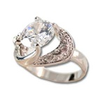 Lady's High Quality Cubic Zirconia Rings</B><br>Silver Plated Cocktail Ring with Lg Center Stone and Side Accent Stones