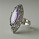 Lady's High Quality Cubic Zirconia Rings Silver Plated Cocktail Ring with Lg Amethyst Marquise CZ and Filigree Setting. L304A