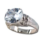 Lady's High Quality Cubic Zirconia Rings</B><br>Silver Plated Cocktail Ring with Large White Oval CZ with Round Accents