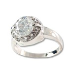 Lady's High Quality Cubic Zirconia Rings</B><br>Silver Plated Cocktail Ring with Large White Round CZ with White CZ Accents