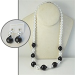 "Wholesale Pearl Earring & Necklace Set Elegant jet & white pearl necklace 24"", with matching earrings."