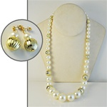 "Wholesale Pearl Earring & Necklace Set Elegant gold bead & pearl necklace 24"", with matching earrings."