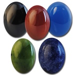 Wholesale Oval Semi Precious Stone Cabochon - 10x8mm, available in Black Onyx, Carnelian, Blue Onyx, Taiwan Jade & Blue Sodalite