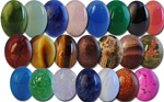 Wholesale Oval Semi Precious Stone Cabochon - 12x10mm, available in Taiwan Jade, Adventurine, (Blue Lapis +.50) Rose Quartz, Blue Agate, Green Onyx, Black Onyx, (Salmon +.50) Red Jasper, Honey Tiger Eye, Red Tiger Eye, Leopard Skin, Brazilian Agate, Epido
