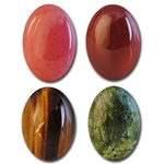 Wholesale Oval Semi Precious Stone Cabochon - 14x10mm, available in (Salmon +$1.00), Carnelian, Tiger Eye & Jade.