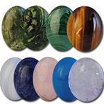 Wholesale Oval Semi Precious Stone Cabochon - 16x12mm, available in Jade, (Carved Jade +$1.00) (Malachite +$1.00) Tiger Eye, Turquoise, Rose Quartz, Blue Lace Agate, Blue Sodalite & (Amethyst +$1.00).