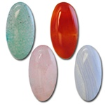 Wholesale Oval Semi Precious Stone Cabochon - 18x9mm, available in  Aventurine, Carnelian, Rose Quartz & Blue Lace Agate.(