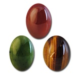 Wholesale Oval Semi Precious Stone Cabochon - 8x6mm, available in Carnelian, Taiwan Jade & Tiger Eye.